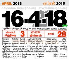 April  2018 Calendar - Tamil daily calendar for the day 16/4/2018