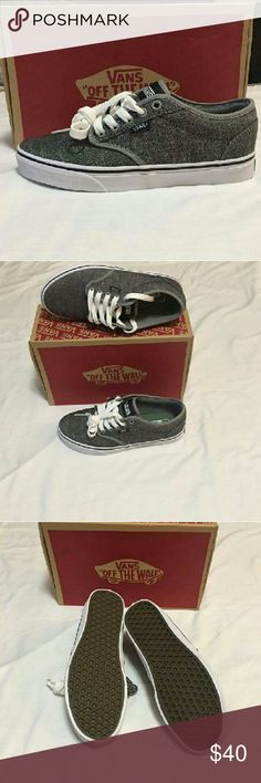 Vans Atwood Textile Gray and white. Canvas upper, rubber sole, padded tongue. 7.5 men = 9.5 women. Vans Shoes Sneakers