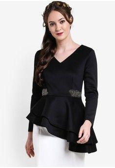 Wanita > Pakaian > Pakaian Modern Etnik > Asymmetric Peplum Top > Zalia