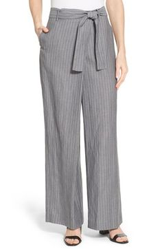 Lafayette 148 New York 'Eldridge - Park Ave' Pinstripe Wide Leg Pants available at #Nordstrom
