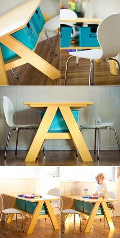 DIY Kids Furniture Projects • Lots of tutorials! Including, from 'strawberry chic', this great diy pottery barn kids table project.