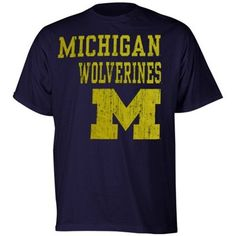 Michigan Wolverines Navy Blue Stacked T-shirt