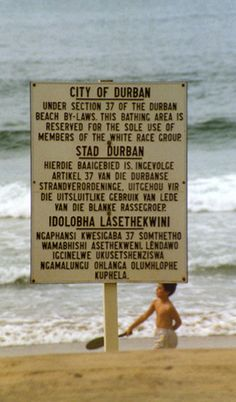 Trilingual sign in English, Afrikaans, and Zulu in Apartheid era South Africa. South Africa States, South Africa Tours, Durban South Africa, Freedom Day South Africa, South Afrika, Pretoria, Nelson Mandela, Zulu Language, End Of Apartheid