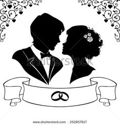 Find Elegant silhouette of the bride and groom isolated on white background. Vector illustration Stock Images in HD and millions of other royalty-free stock photos, illustrations, and vectors in the Shutterstock collection. Bride Silhouette, Couple Silhouette, Silhouette Design, Wedding Pics, Budget Wedding, Wedding Cards, Wedding Day, Gravure Laser, Stock Foto