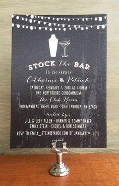 Printable Stock the Bar Chalkboard Invitation by TickledInkPaperie