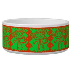 Cute Monkey Orange Green Animal Pattern Pet Food Bowl SOLD on Zazzle