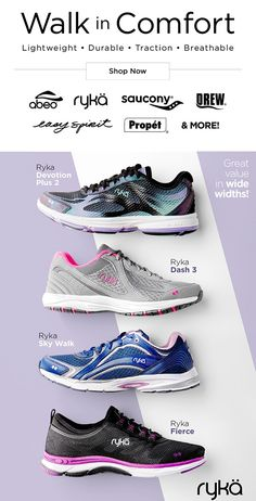 Get moving in lightweight walking comfort with great brands -- ABEO, Ryka, Saucony and much more!