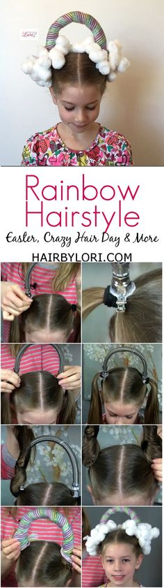Fun Rainbow Hairstyle that is perfect for Easter, Crazy Hair Day, and so much more.