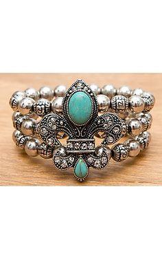 M Antiqued Silver with Turquoise Fleur de Lis 3 Strand Beaded Elastic Bracelet