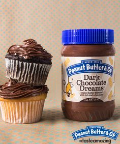 All you need to frost your cupcakes is a jar of Dark Chocolate Dreams peanut butter! #tasteamazing
