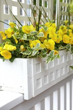 Violas and varigated vinca.  18 Bright and Beautiful Window Box Planters | Midwest Living