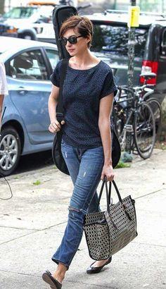 Anne Hathaway Casual Pixie Cut