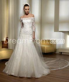 Pretty Trumpet/Mermaid Off-the-Shoulder 3/4-Length Sleeves Court Wedding Dresses
