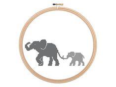 Mother And Baby Elephants  Cross stitch door HappyNeedleDesigns