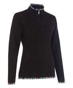 Another great find on #zulily! Black & Stripe-Trim Anne Merino Wool-Blend Pullover #zulilyfinds