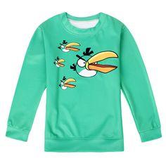 Womens Crewneck Long Sleeve Angry Bird Printed Sweatshirt Turquoise ($15) ❤ liked on Polyvore featuring tops, turquoise, long sleeve tops, green top, turquoise top, crew top and crew neck tops