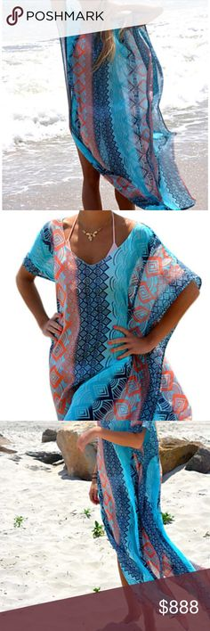 Coming soon! Long beach coverup/dress. Boho chic Stunning blue/multi geometric pattern beach/swim coverup. Slip right on and go! Chiffon. Light weight. Approx 127cm long. One size fits most. Will be priced at $39. summer is almost here ladies! boutique Swim Coverups