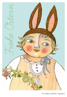 Frohe Ostern HAPPY EASTER German Postcard -- Designerstück von selda bei DaWanda