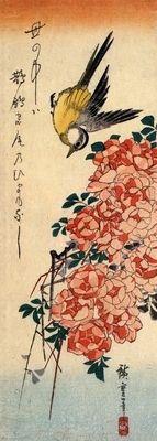 Sparrow and bamboo by Hiroshige. Order from DEKORAMI as a poster, canvas print, mural. Zamów jako obraz na płótnie, plakat lub fototapetę na DEKORAMI.pl.