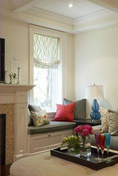 window seat + fireplace