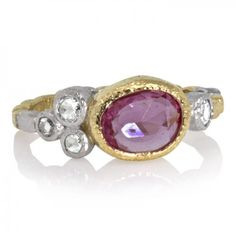 Skinny pebbles ring with free form rose cut pink  sapphire and rose cut diamonds by Rona Fisher