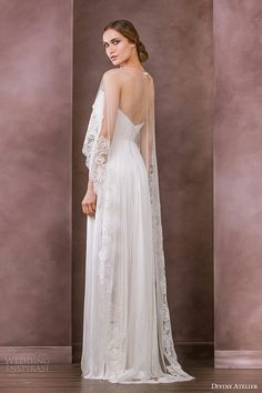 High-Low Cape, Back View by Divine Atelier Bridal 2015^^^^