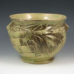 McCoy ivy jardiniere in unusual green gloss with excellent mold