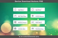 A selection of softly styled device download buttons, including the app store, android market and ovi store.
