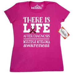 80e0cfa2d Inktastic Multiple Myeloma Cancer Awareness Quote Women's T-Shirt Support  Ribbon Burgundy Walk Event Month Bone Slogan Life After Diagnosis Apparel  Clothing ...