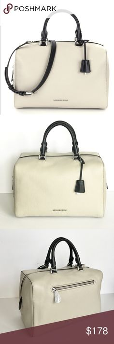 """MICHAEL KORS Kirby Leather Large Satchel Guaranteed Authentic!! Michael Kors Kirby large satchel. Color: Cement/Black with silver tone hardware. Pebble leather. Black double foldover handles with 4.5"""" drop. Adjustable optional long strap with 21.75"""" max."""