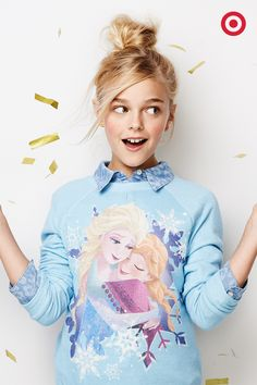 Frozen fever? Warm her heart with this Elsa and Anna sweatshirt. It's pretty and inspiring, perfect for any girl on your wish list.