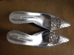 Manolo Blahnik NWOT size 39 mules just under 2 inch heel grey silver black  #ManoloBlahnik #Mules