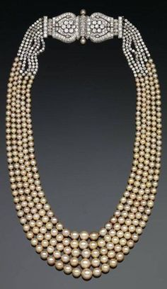 Days Gone By - 1920's Pearls with diamond clasp by Cartier. From The Smithsonian.