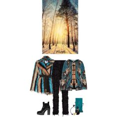 Wambli Winter Sunset by wambliwakan on Polyvore featuring Blumarine, Etro, Carven, Marc by Marc Jacobs, Dinosaur Designs and Alexander McQueen