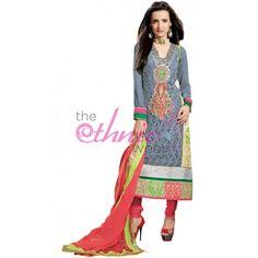 Sanaya Irani Grey Georgette #AnarkaliKameez #SalwarKameez #SalwarSuits #Fashion #Dress