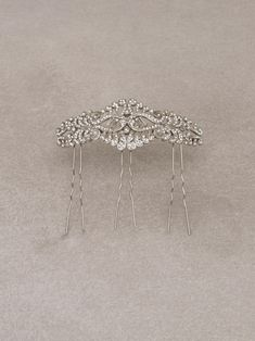 RAMBLAS COMB - Simple bridal comb in aged silver and gemstones
