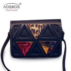 Women Vintage PU Leather Shoulder Bags Triangle Patchwork Messenger Bag High Quality Solid Zipper Crossbody Bags for Ladies