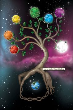 A dream that I had where the tree of life contained seven chakra worlds. Tree of Life Art Chakra, Chakra Healing, Sacral Chakra, Reiki, Les Chakras, Illustration, Sacred Geometry, Mother Earth, Fantasy Art