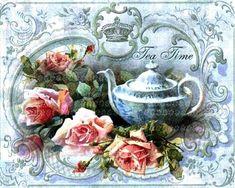 Decoupage Vintage, Decoupage Paper, Vintage Ephemera, Vintage Postcards, Tea Favors, Etiquette Vintage, Cupcake Art, Tea Art, Hand Embroidery Designs