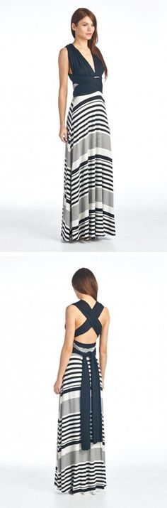 Navy Striped Wrap Maxi Dress -- WANT