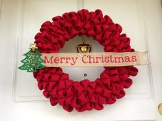 Red Burlap Holiday Wreath with Burlap Christmas Banner and Tree Embellishment, Christmas, Holiday Decor, Custom, Winter, Door/Wall Decor