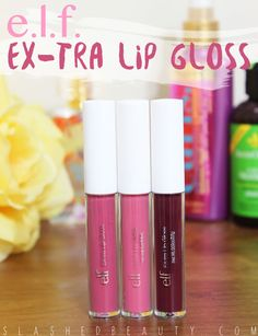 Review & Swatches: e.l.f. EX-tra Lip Glosses   Slashed Beauty