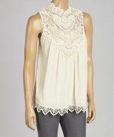 Another great find on #zulily! Cream Sheer Lace Sleeveless Top by Red Clover #zulilyfinds