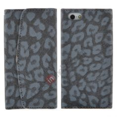 Textured Leopard Credit Card Slot Wallet Leather Case for iPhone 5 - Black US$6.99
