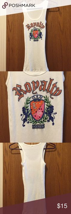 """Lovestruck White Tank Top Excellent condition. Never worn but has been washed.  10"""" from armpit to armpit. Long length, 16.5"""" from armpit. 100% soft, stretchy cotton. No missing embellishments. Not from a smoke-free house. Lovestruck Tops Tank Tops"""