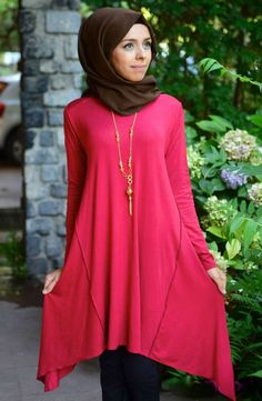 #Hijab #Hijabfashion #Hijabstyle #hijab2014 Summerly Uneven Tunic - Red