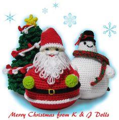 Santa Clause, Snowman, and Christmas Tree Amigurumi