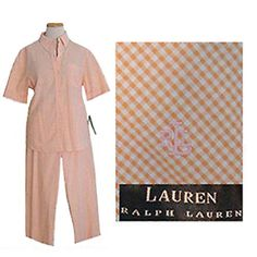 NWT $144 Ralph Lauren Vintage 1980s Shirt & Pants Outfit Gingham Print #RalphLauren