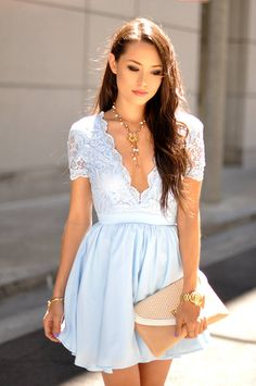 Baby Blue Lace Top Skater Dress
