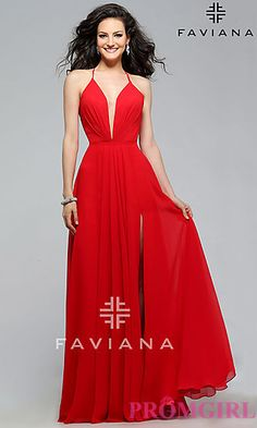 Long Faviana Prom Dress with Low V-neckline and Lace Up Back at PromGirl.com